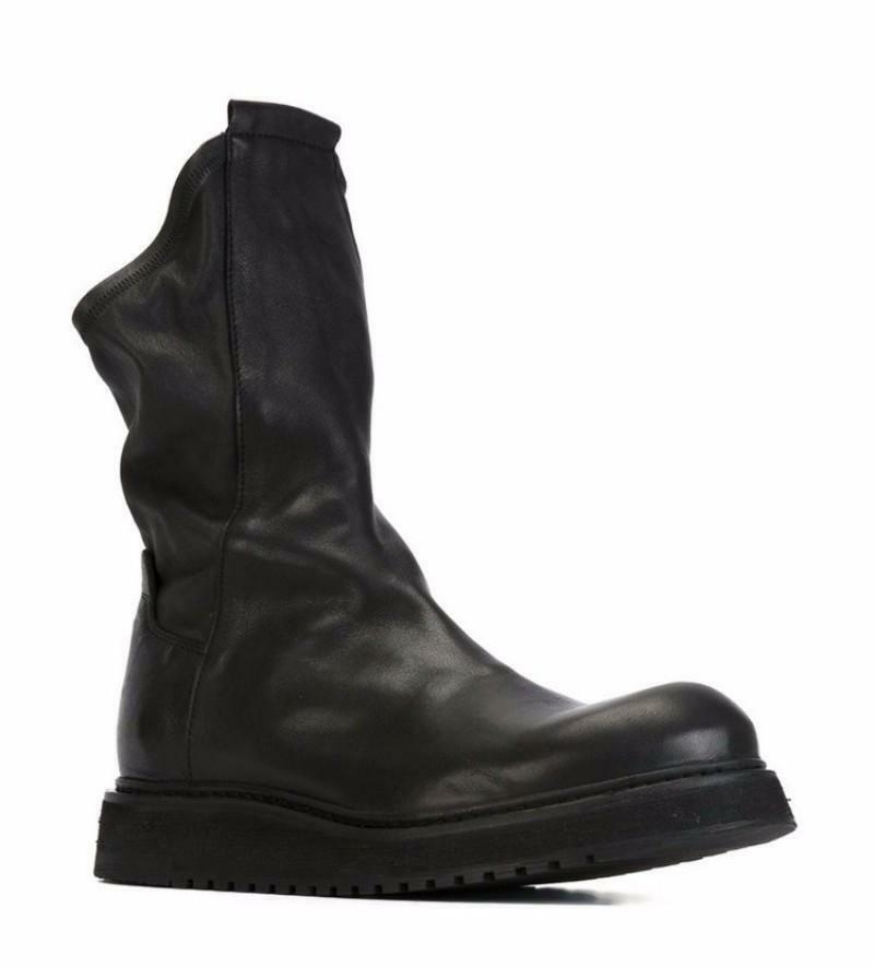 Punk para Hombre de Cuero tire de Vaquero botas al Tobillo Zapatos botas de combate Gótico Puntera rojoonda