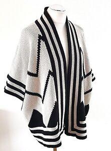 M Taille Cream 100 géométrique à laine Jaeger Black ouvert l motif Cardigan devant RUnWqUPg