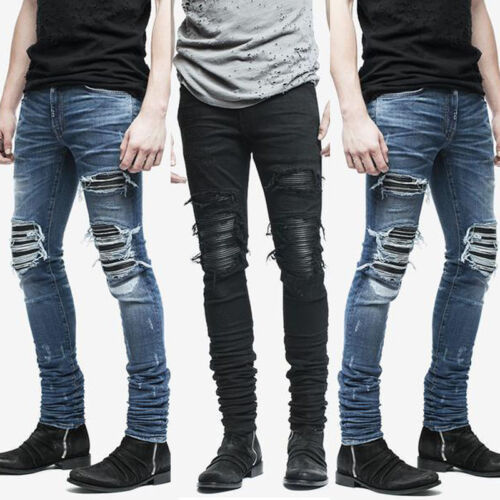 Fashion Men/'s Distressed Ripped Destroyed Wash Denim Zipper Ankle Skinny Jeans