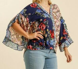 New-Umgee-Top-1X-Navy-Blue-Mixed-Floral-Scallop-Sleeve-Boho-Peasant-Plus-Size