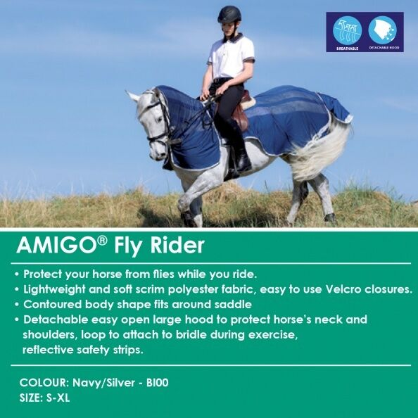 Horseware Amigo FLYRIDER Riding Rug Bug/Insect/Midge Fly Rider Bug/Insect/Midge Rug Protection S-XL 149444