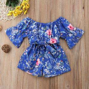 4ae7a68fb9a99 Infant Child Kids Baby Girls Off Shoulder Floral Romper Jumpsuit ...