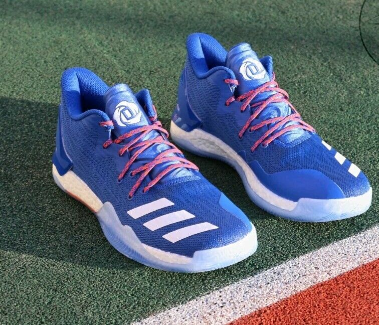 [BY4499] New Men's ADIDAS Derrick pink 7 Low Basketball Sneaker - bluee Size 6.5