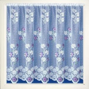 LAVENDER-PINK-MARIGOLDS-DAISY-FLOWERS-WHITE-LACE-NET-CURTAIN-SOLD-BY-THE-METRE