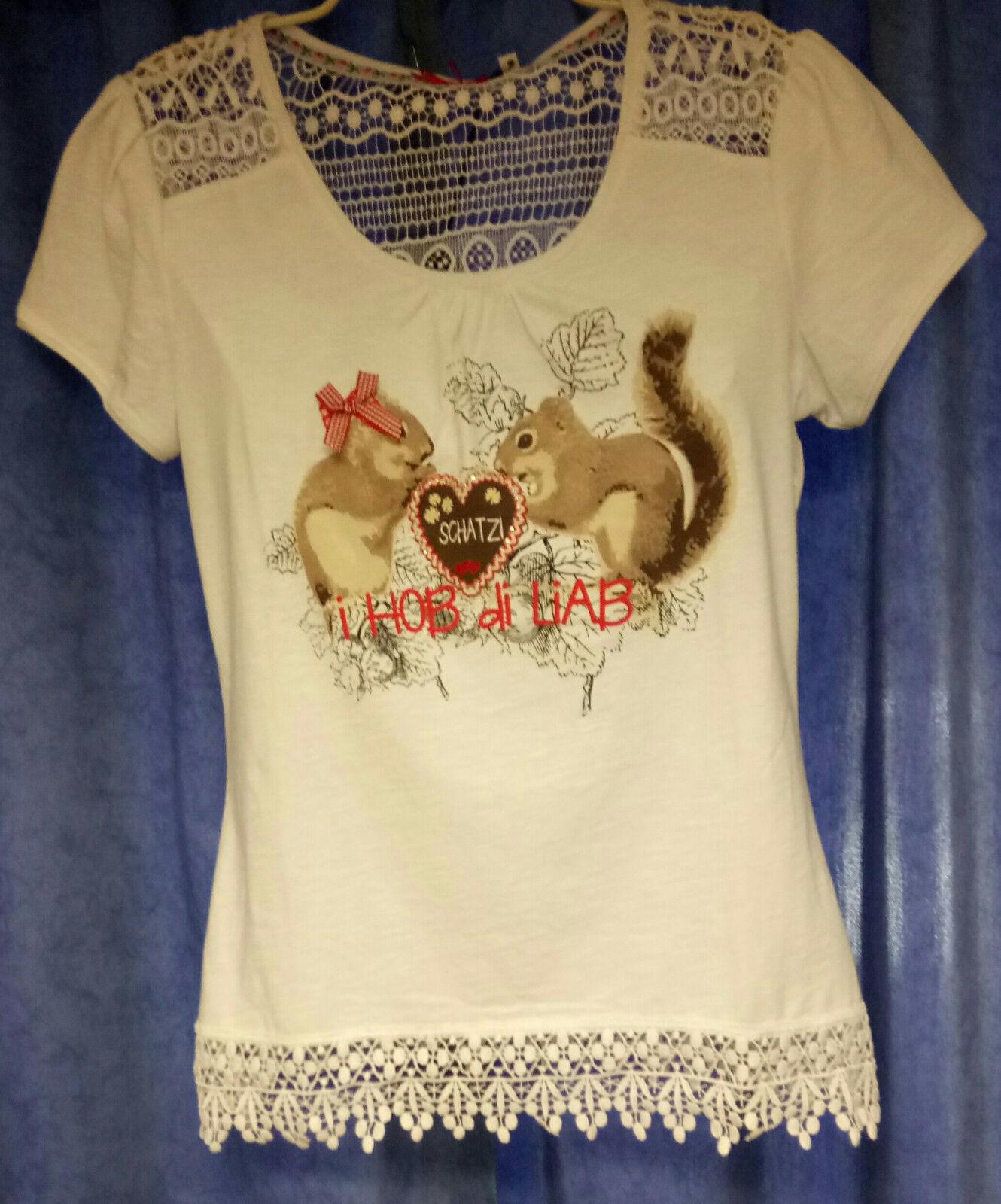 Trachten shirt Damen Eichkätzchen Hangowear Marjo Gr.M   i hob die liab