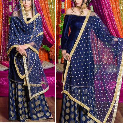 Indian Velvet Kameez Pakistani Designer Latest Bollywood Lehenga Dress Dupatta Ebay