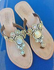 MYSTIQUE Lagos Opal Jeweled Rhinestone Crystal Leather Thong Wedge Sandals 8