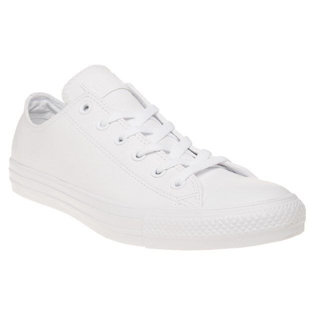 New  Uomo Ox Converse WEISS All Star Ox Uomo Leder Trainers Mono Lace Up 798b06