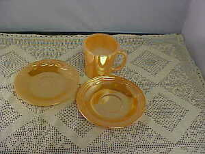 Vintage-Fire-King-Peach-Luster-Lot-of-3-Items-1-Mug-and-2-Saucers-That-Differ