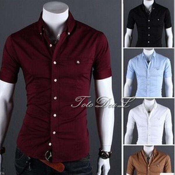 Men Casual Cotton Button front Slim fit Short Sleeves Dress Shirt Plus Size DO