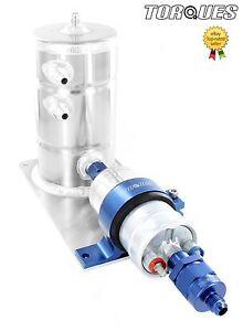 Bosch-044-Fuel-Pump-Swirl-Surge-Pot-Tank-Assembly-AN-6-Check-Valve-Output