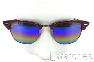 dbbdf652b73dd Image is loading New-Ray-Ban-Clubmaster-Mineral-Flash-Burgundy-Sunglasses-