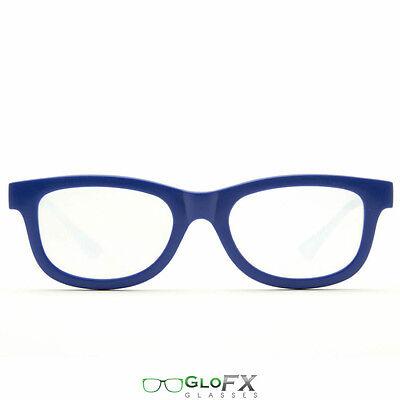 Blue Diffraction Glasses Rave EDM 3d Prism firework rainbow defraction