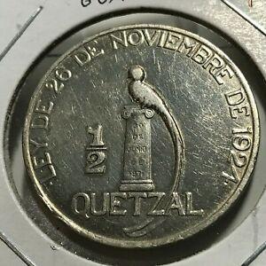 1925-GUATEMALA-SILVER-1-2-QUETZAL-RARE-CROWN-COIN