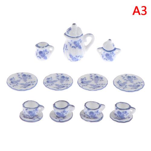 15Pcs 1:12 Dollhouse Miniature Tableware Porcelain Ceramic Tea Cups Set Toys CWI