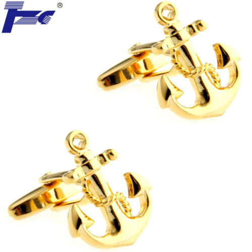 Men Gold Anchor With Chains Shirt Cufflinks With Velvet Bag TZG Brand Cuff Links