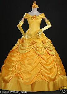 Belle Adult Costume Beauty And The Beast Dress Cloak Princess Prom