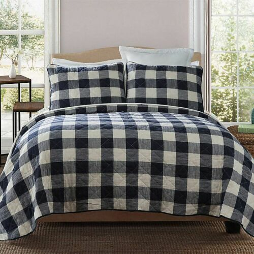 3-Pc Bee /& Willow Buffalo Check Plaid Full-Queen Quilt Set Shabby Chic Farmhouse