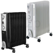 2500W 11 FIN PORTABLE OIL FILLED RADIATOR HEATER ELECTRIC ADJUSTABLE THERMOSTAT