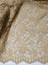 "GOLD CORDED EMBROIDERY BEIDAL LACE FABRIC 50"" WiIDE 1 YARD"