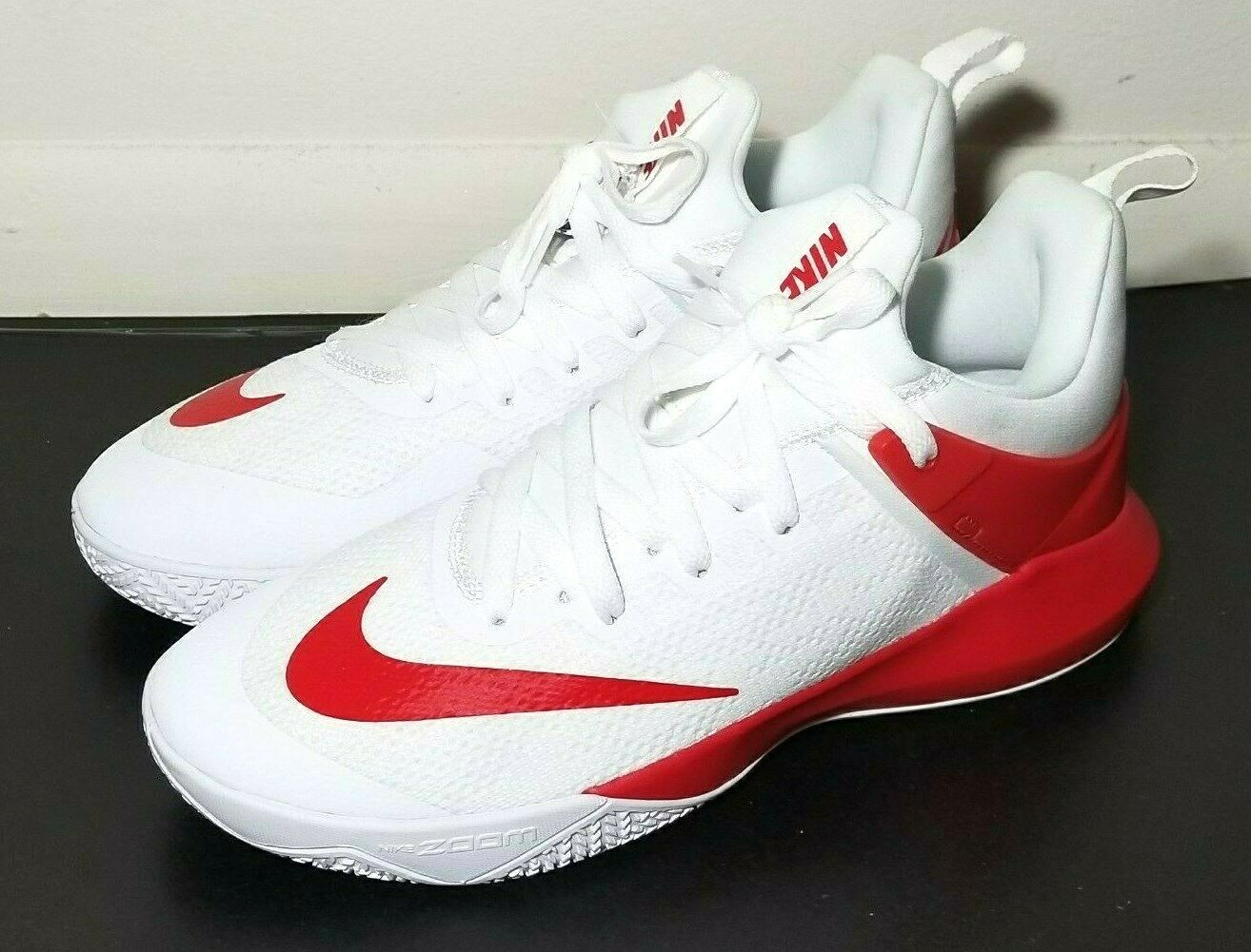 Nike Mens Zoom Shift TB Basketball shoes White Red Size 9.5 New 942802-102