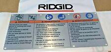 Ridgid Pipe Threading Machine 300 1224 Amp 535 Safety Warning Plate 88690