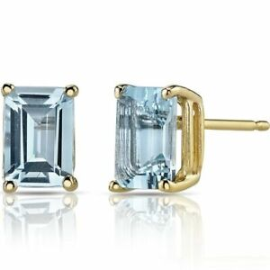 1-25Ct-Aquamarine-Emerald-Cut-14K-Yellow-Gold-Over-Women-039-s-Stud-Earrings