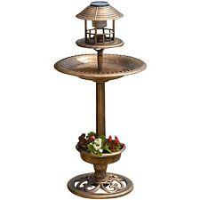 Garden Solar Bird Bath Feeder Planter Light Station Cast Iron Effect Ornament
