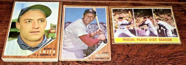 CARDINALS TEAM SET: 1962 TOPPS WARREN SPAHN, BOBBY SMITH, McDANIEL MINOSO BOYER+