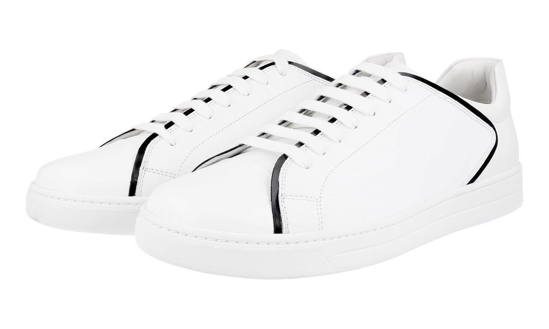 LUSSO PRADA Sneaker Scarpe 4e2569 bianco con SAFFIANO PELLE NEW 9 43 43,5