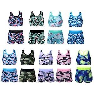 Mädchen Tankini Sets Zweiteiler Badeanzug Bikini Top mit Bedeshorts Schwimmanzug