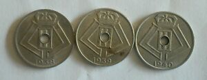 3-monnaies-munten-Belgique-Belgie-LEOPOLD-III-5-cent-1938-1939-et-1940