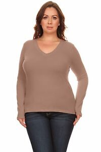 1e3e0ed5c57 Simlu Plus Size Sweater Long Sleeve Pullover V Neck T Shirt for ...