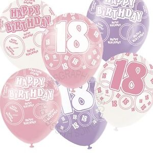 Image Is Loading 12 Happy 18th Birthday Pink Lilac White Helium