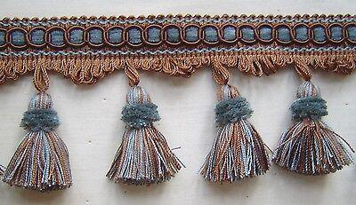 """3.25"""" Tassel Fringe Silver Blue Brown Match Braid Bullion Fringe Rosette Tassel"""