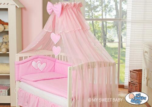 My Sweet Baby Kinderbett Babybett Himmel Bettset Herzchen 120x60 Bett Weiß Holz
