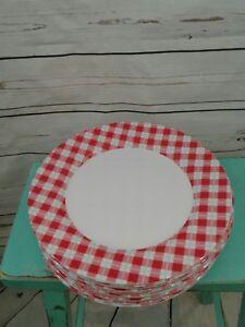 Red White Blue Gingham Plastic Plates