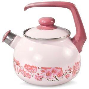 Kettle-Whistle-Enamel-Lid-Enamelware-Made-Serbia-High-Quality-Pink-Sakura-Art