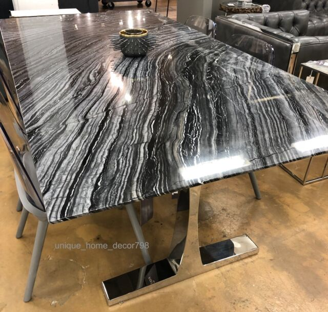 Restoration Hardware Replica Modern Drake Black Marble Dining Table Silver 78