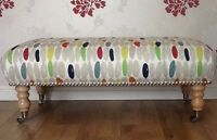 A Quality Long Footstool In Laura Ashley Wallace Retro Natural Fabric
