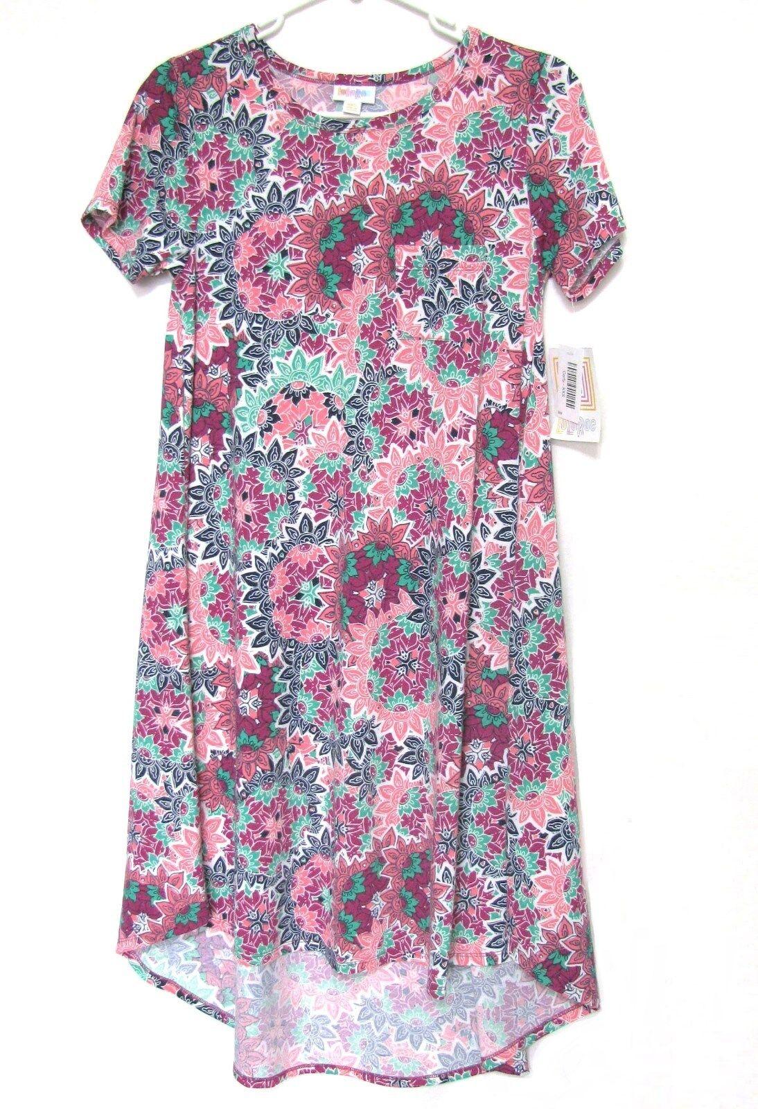 bafc4e97f0ec7 NWT LulaRoe Carly Swing Dress XXS Pink Teal Geometric Floral Unicorn Hi-Low  2XS