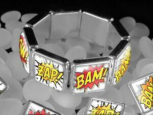 Retro-Comic-Book-Action-Figure-POW-BANG-Batman-Silver-Bangle-Charm-Bracelet-USA