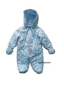 Baby-boys-blue-SNOWSUIT-newborn-or-3-6-months-double-zip-warm-hooded-coat