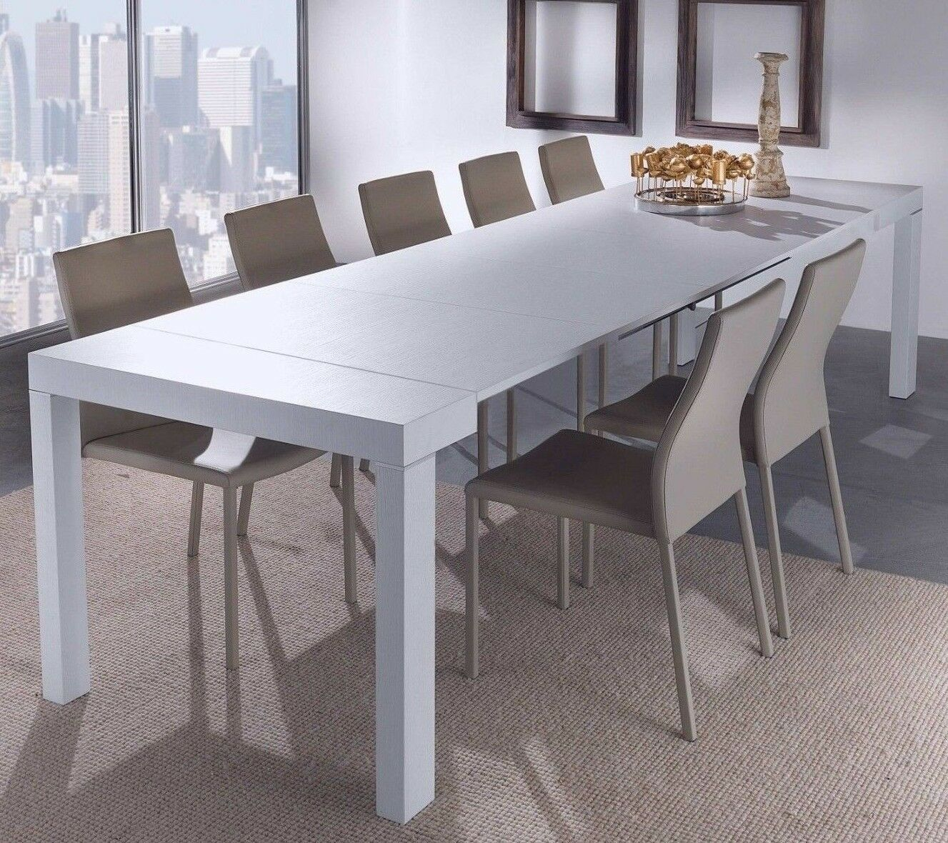 Tavolo Da Pranzo 3 Metri eglemtek paris tavolo console allungabile - bianco