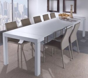 Dettagli su Tavolo da pranzo consolle allungabile 3 metri 14 posti bianco  salvaspazio cucina