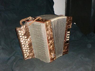 100% Wahr Altes Diatonisches Knopf-akkordeon Hohner Viktoria Club Modell 1930er Jahre