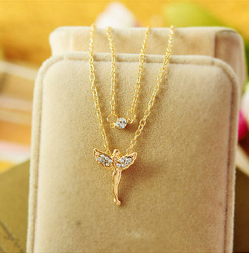 Cute Fairy Angel Rhinestone Pendant Double Layer Necklace Chain Gold /& Silver