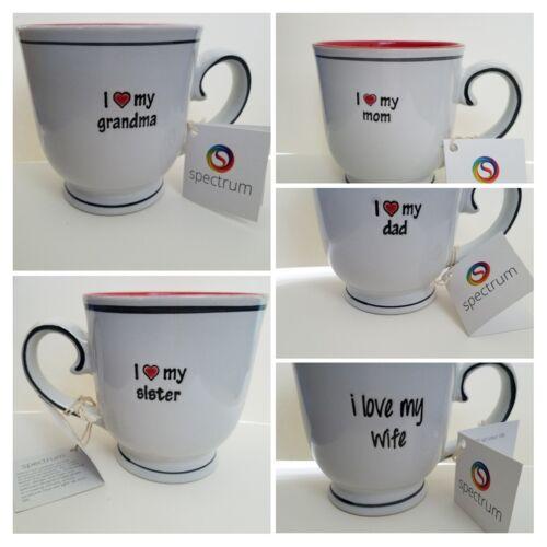 SISTER Coffee Tea MUG Red Black White Stoneware Script I LOVE MY WIFE