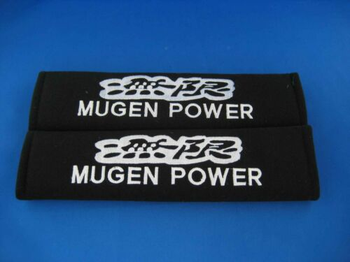 2 x MUGEN POWER Seat Belt Shoulder Cover Pads EMBROIDERED LOGO for Car Interior