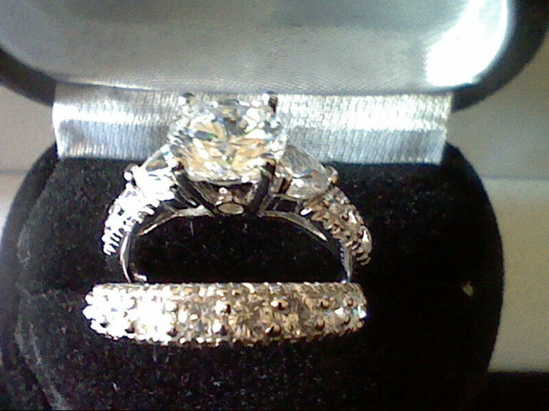 PLATINUM & SS 3.25CTW LCS ROUND DIAMOND WEDDING ENGAGEMENT RING SET SIZE 10